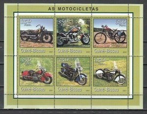 Guinea Bissau, 2001 issue. Various Motorcycles on a sheet of 6. *