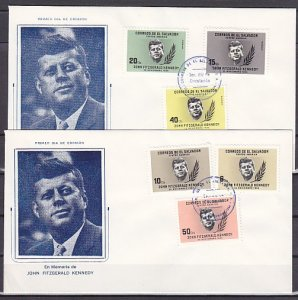 Salvador, Scott cat. 747-9, C211-13. President J. Kennedy. 2 First day covers. ^