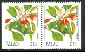 PALAU 1987-88 22c Indigenous Flowers Pair From Booklet Pane Sc 132var MNH