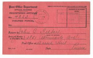 Official Post Office Dept Return Receipt Card Chicago 1940 Machine Cancel