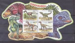 Guinea-Bissau, 2011 issue. Dinosaurs, sheet of 4. ^