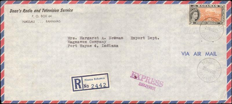 1962 BAHAMAS REGISTERED EXPRESS SINGLE 2 SCHILLING TO UNITED STATES
