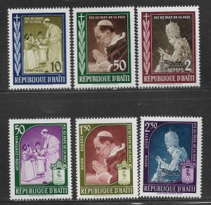 HAITI 444-446, C139-C141 MNH ISSUED IN MEMORY OF POPE PIUS XII 1959
