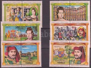 Tuvalu-Nukufetau stamp English monarchs 6 pairs MNH 1984 Mi 11-22 WS143086