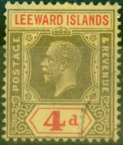 Leeward Islands 1922 4d Black & Red-Pale Yellow SG52 Fine Used