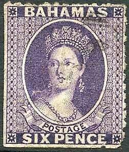 Bahamas SG31x 6d Deep Lilac wmk CC reversed Perf 12 Cat 60 pounds
