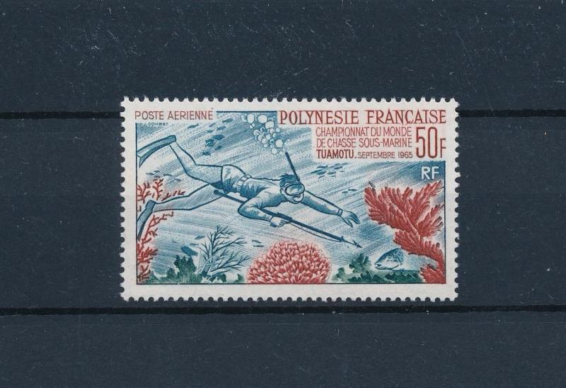 [48826] French Polynesia 1965 Marine life Fish Fishing Diving Airmail MNH