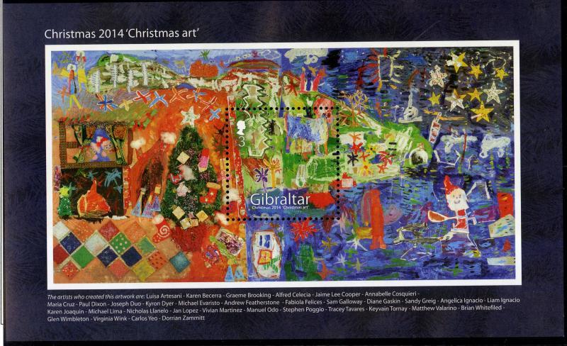 GIBRALTAR 1488 MNH S/S SCV $9.50 BIN $5.75 CHRISTMAS