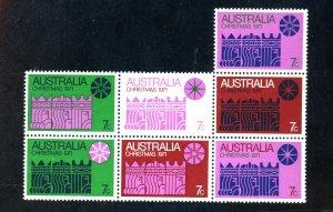 Australia #508 MINT Block of 7 F-VF NH Cat $40