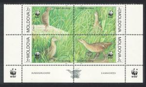 Moldova Endangered Species The Corncrake 4v Bottom Block of 4 WWF Logo