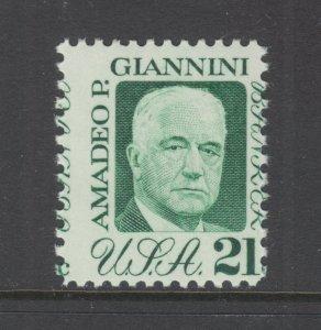 US Sc 1400 MNH. 1973 21c Amadeo P. Giannini, MISPERF, VF ERROR