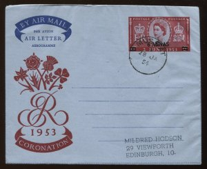 Muscat overprinted QEII air letter used to Edinburgh Scotland