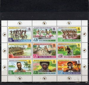 SOLOMON ISLANDS 1998 NATIONAL COSTUMES & DANCING SHEET OF 9 STAMPS MNH