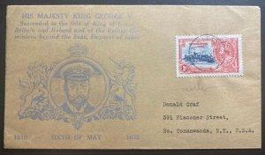 1935 St Kitts & Nevis Cover King George V Silver Jubilee To Tonanwanda USA