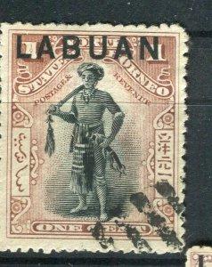 NORTH BORNEO LABUAN; 1890s classic Pictorial issue fine used 1c. value