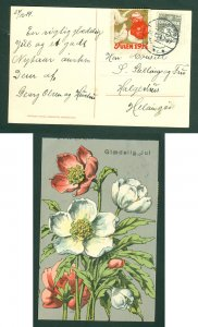 Denmark. Christmas Card 1914. Seal + 3 Ore. Helsingor. Cancel: 24 Dec.. Flowers.