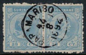 Surinam #29 pair  CV $11.50  Nice cancellation