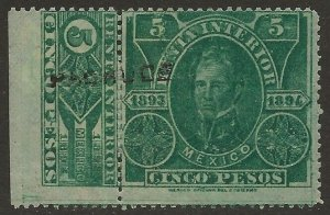 Mexico Revenue 1893-94 Renta Interior 5P Green Fine HR CV 10.00