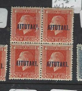 AITUTAKI  (PP3003B)  KGV  1/-    SG 18A   BL OF 4   MOG