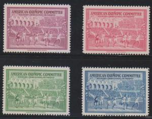 USA 1940 CINDERELLA OLYMPIC COMMITTEE HELSINKI-ST MORITZ FULL SET MNH