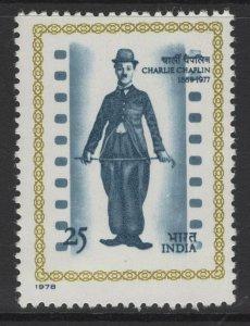 INDIA SG887 1978 CHARLIE CHAPLIN COMMEMORATION MNH