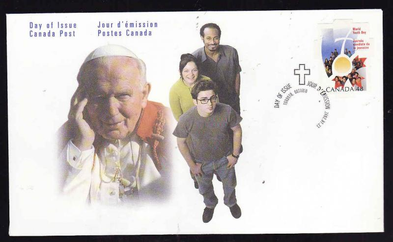 Canada-Sc#1957-stamp on FDC-World Youth Day-Pope John Paul II -2002-