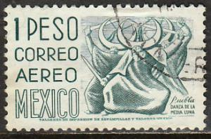 MEXICO C473, $1P 1950 Defin 9th Issue Unwmkd Fosfo Coated. USED. F-VF.(1456)