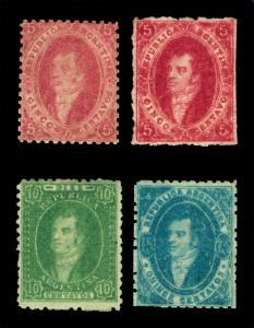ARGENTINA 1864  Rivadavia  Watermarked. & Perf. set  Scott # 11-13 mint MH