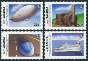 Gambia 778-780,785,MNH. Transportation innovations,1988.Zeppelin,Locomotive,