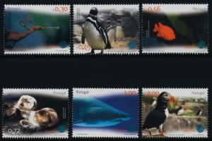 Portugal 2608-13 MNH Oceanarium, Marine Life, Birds, Penguin, Shark, Fish