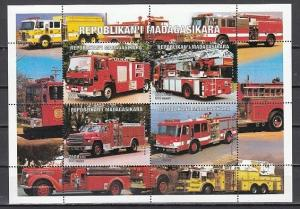 Malagasy Rep. 1999 Cinderella issue. Fire Trucks sheet of 4. ^