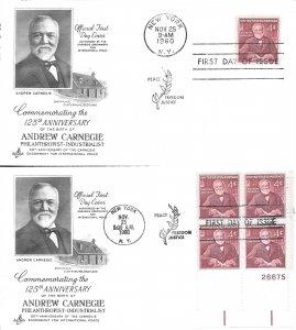 #1171, 4c Andrew Carnegie, Art Craft cachet, single/plate block of 4
