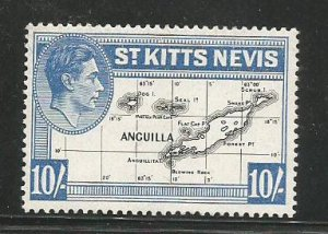 ST. KITTS-NEVIS, 1948, MNH 10sh, Map Scott 89