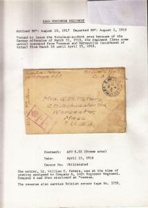 1918, AEF in BEF: FPO S. 52, 14th Eng. Regt. to Worcester, MA (M3362)