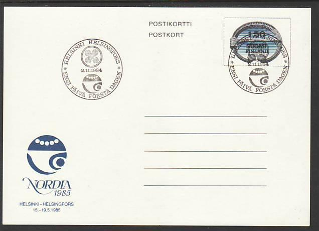 Finland Nordia 1985 Postal Card FDC VF