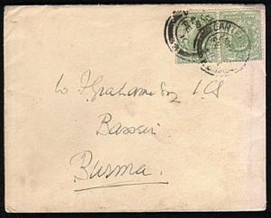 GB TO BURMA 1910 cover ex Canterbury, BASSEIN arrival backstamp............44472