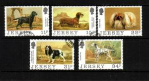 Jersey Sc 447-51 1988 Dog Club stamp set used