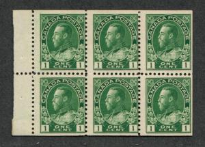 Canada Sc#104a M/NH/F, Booklet Pane, Cv. $300