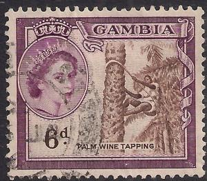 Gambia 1953 - 59 QE2 6d Palm Wine Tapping SG 177 ( D47 )