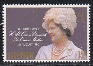 Ascension, # 261, Queen Mother Birthday, Mint NH, 1/2 Cat.
