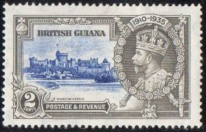 British Guiana 1935 2c ultramarine and grey (Silver Jubilee) MH