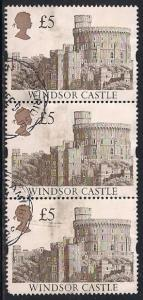 Great Britain 1448 Used - £5 Windsor Castle - Strip of 3
