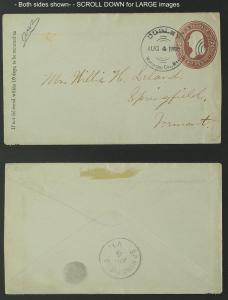 DUDLEY Massachusetts duplex 1885 postal stationery envelope