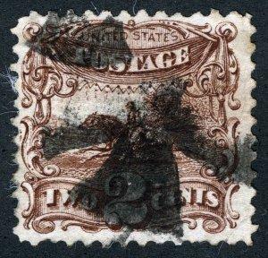 US Sc 113 Brown 2¢ 1869 G Grill Cross Cork Cancel *Oak Lot
