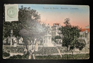1909 Berrio Park Medellin Columbia to Paris France Real Picture Postcard Cover
