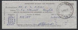 PAPUA NEW GUINEA 1973 reg receipt MOEM BARRACKS cds.........................C272