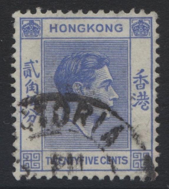 Hong Kong - Scott 160 - KGVI Definitive Issue- 1938 - FU - Single 25c Stamp