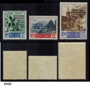 Italy San Marino 1950 Milan Fair Airmail Set MLH