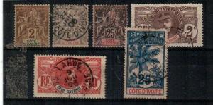 Ivory Coast Scott 2,8,10,22,25,27 Used (#2 is mint hinged) -Catalog Value $29.50
