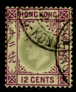 HONG KONG SG82, 12c green and purple/yellow, USED.